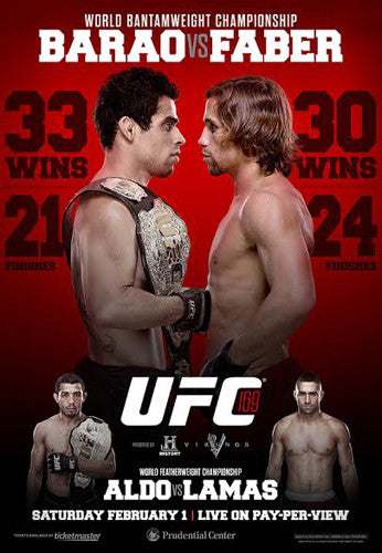 UFC 169 Official Event Poster (Barao vs Faber) - New Jersey 2/1/2014