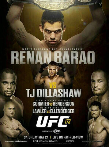 UFC 173 Official Event Poster (Barao vs Dillashaw) Las Vegas 5/24/2014