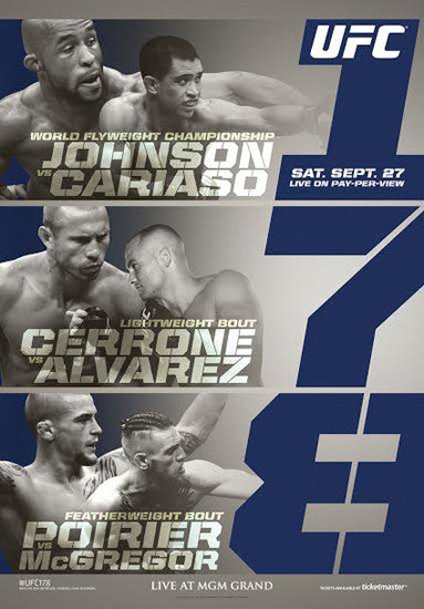 UFC 178 Official Event Poster (Conor McGregor vs. Poirier, Johnson vs Cariaso) - Las Vegas 9/27/2014