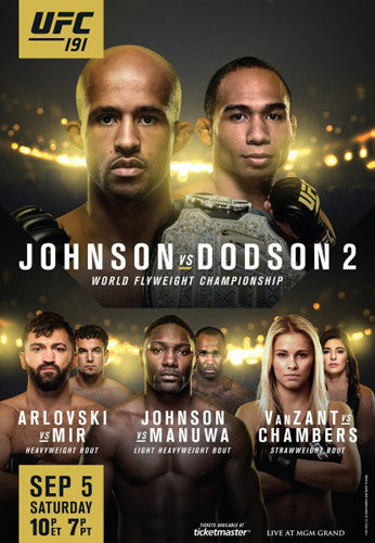 UFC 191 Official Event Poster (Demetrius Johnson vs Dodson 2, Mir, ++) Las Vegas 9/5/2015