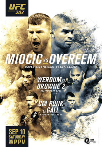 UFC 203 Official Event Poster (Miocic vs. Overeem) - Cleveland, OH 9/10/2016