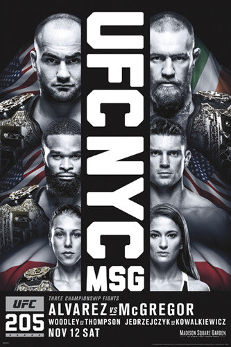 UFC 205 (Madison Square Garden, New York 11/12/2016) Official 24x36 Event Poster - Pyramid America