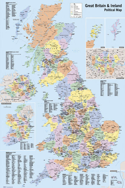 Map of Great Britain and Ireland Wall Poster - GB Eye Ltd.