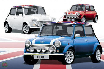 "Mini Cars ""Red, White & Blue"" Automotive Poster - GB Eye (UK)"