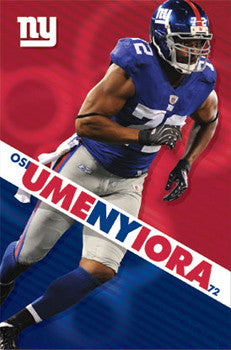 "Osi Umenyiora ""72 Action"" New York Giants NFL Football Poster - Costacos 2009"