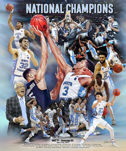 North Carolina Tar Heels 2017 NCAA Basketball Champions Premium Art Collage Poster