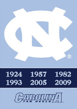 "North Carolina Tar Heels ""6-Time Basketball Champs"" Banner"