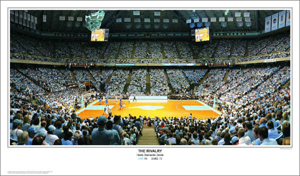 "North Carolina Tar Heels vs Duke ""The Rivalry"" Dean Smith Center Game Night Poster Print"