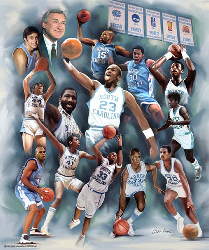 Dean's Dream Team (North Carolina Legends) Historic Art Collage Poster by Wishum Gregory