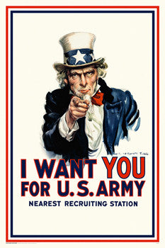 "Uncle Sam ""I Want You for the US Army"" WWI Recruiting Poster Reprint (James M. Flagg)"