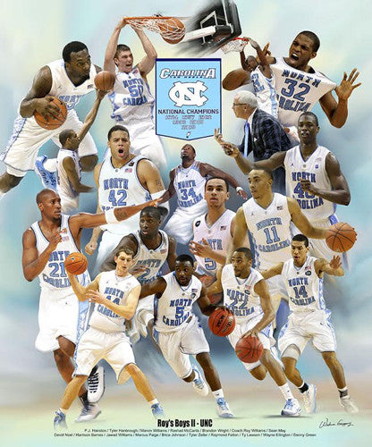 "North Carolina Tar Heels Basketball ""Roy's Boys II"" (2005 and 2009 Champs) Poster by Wishum Gregory"