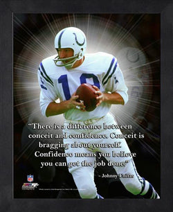 "Johnny Unitas ""Confidence"" Baltimore Colts FRAMED 16x20 PRO QUOTES PRINT - Photofile"
