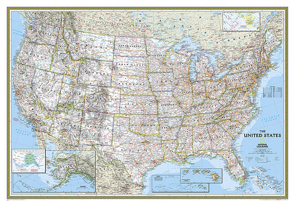 Map of the United States of America National Geographic Classic Edition 30x43 Wall Map Poster - NG Maps