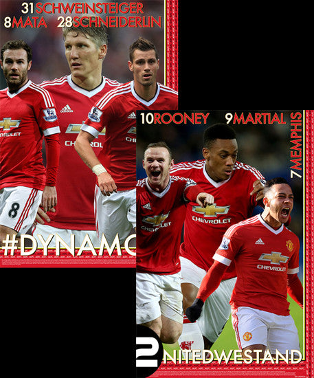 "Manchester United ""#DYNAMOS"" EPL Soccer 6-Player 2-Poster Combo Set - Starz"