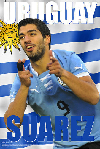 "Luis Suarez ""Uruguay Electric"" World Cup 2014 Soccer Superstar Poster - Starz"