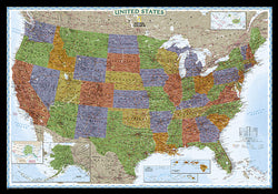 Map of the United States of America National Geographic Decorator-Edition 30x43 Wall Map Poster - NG Maps