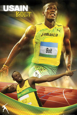 "Usain Bolt ""Lightning"" Olympic Track Star Poster - GB Eye 2012"
