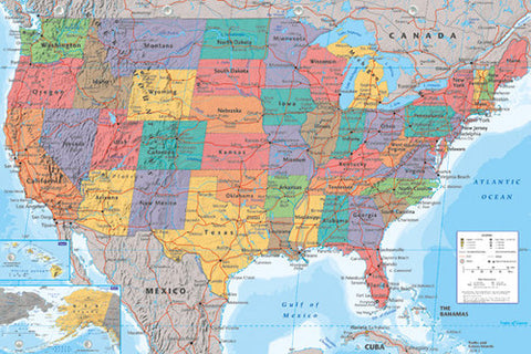 Map of USA Wall Chart Poster - GB Eye