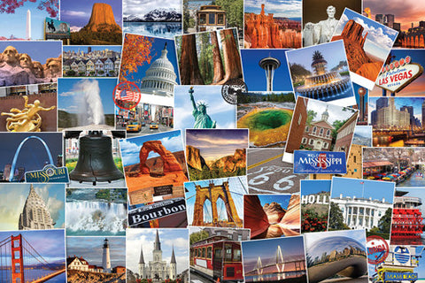Travel the United States US Travelogue Collage Wall Poster - Eurographics Inc.