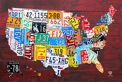 License Plates Map of the United States of America Poster - PosterService Inc.