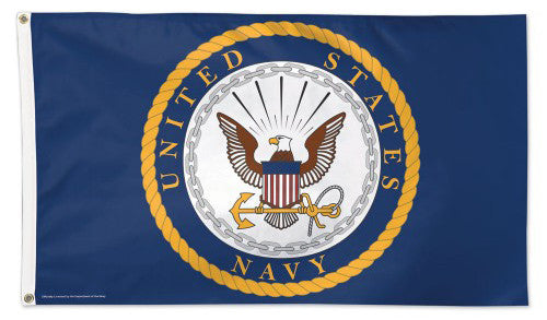 United States Navy Official American Military Emblem Logo DELUXE FLAG - Wincraft Inc.