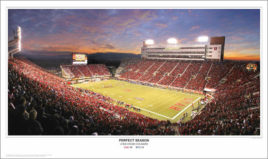 "Utah Football ""Perfect Season"" Rice-Eccles Stadium Game Night Panoramic Poster Print (2008) - Sport Photos Inc."
