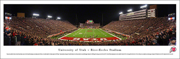 Utah Utes Football Rice-Eccles Stadium Game Night Panoramic Poster Print - Blakeway 2014