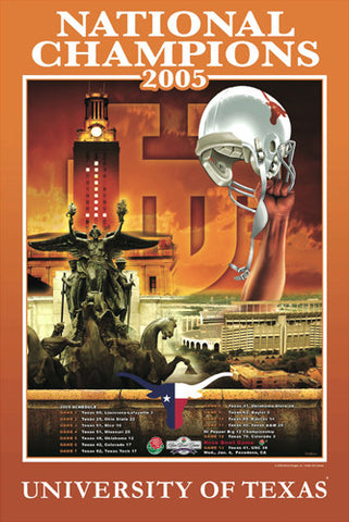 Texas Longhorns Football 2005 NCAA National Champions Commemorative Poster - Action Images