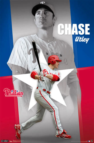 "Chase Utley ""Philly Proud"" Philadelphia Phillies Baseball Action Poster - Costacos 2011"