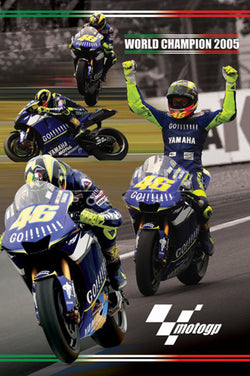 Valentino Rossi 2005 MotoGP World Champion Commemorative Motorcycle Racing Poster - Pyramid Posters