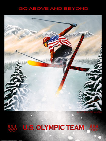 "Olympic Freestyle Skiing ""Go Above and Beyond"" Poster by Susan Sommer-Luarca - Fine Art Ltd."
