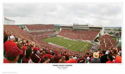 "Virginia Tech Football ""Shuck Huskers"" Lane Stadium Panoramic Poster Print - Sport Photos 2009"