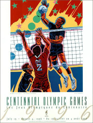 Atlanta 1996 Men's Volleyball Official Event Poster by Hiro Yamagata - Fine Art Ltd.