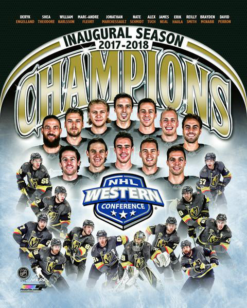 Vegas Golden Knights 2017-18 NHL Western Conference Champions 12-Player Commemorative Premium Poster - Photofile Inc.