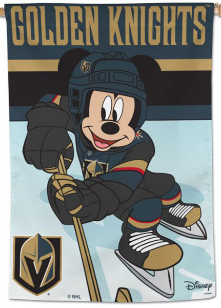 "Vegas Golden Knights ""Mickey Mouse Playmaker"" Official NHL Hockey Premium 28x40 Wall Banner - Wincraft/Disney"