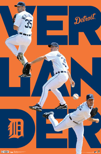 "Justin Verlander ""Triple-Action"" Detroit Tigers Poster - Costacos 2012"