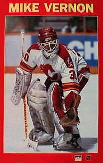 "Mike Vernon ""Stopper"" Vintage Original Calgary Flames Poster - Starline 1989"