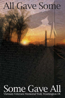 "Vietnam Veterans Memorial Wall ""All Gave Some, Some Gave All"" American Military Poster"