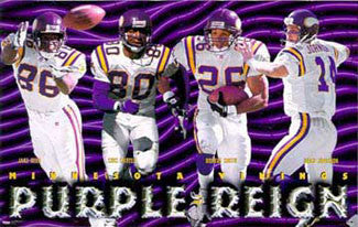 "Minnesota Vikings ""Purple Reign"" Poster (Reed, Carter, Smith, Johnson) - Costacos Brothers 1998"