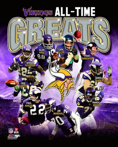 "Minnesota Vikings ""All-Time Greats"" (10 Legends) Premium Commemorative Print - Photofile Inc."