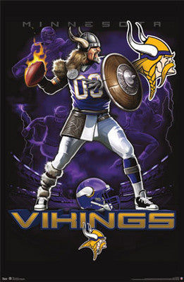 "Minnesota Vikings ""On Fire"" NFL Theme Art Poster - Costacos Sports"