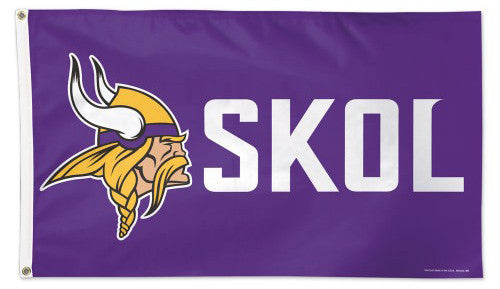 Minnesota Vikings SKOL Official NFL Football DELUXE-EDITION 3'x5' Team Flag - Wincraft Inc.