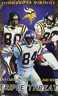 "Minnesota Vikings ""Triple Threat"" (Carter, Moss, Reed) Poster - Starline 1998"