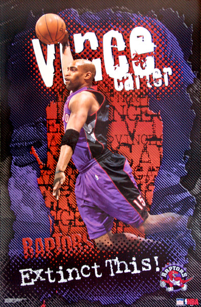 "Vince Carter ""Extinct THIS!"" Toronto Raptors NBA Action Poster - Starline 2001"