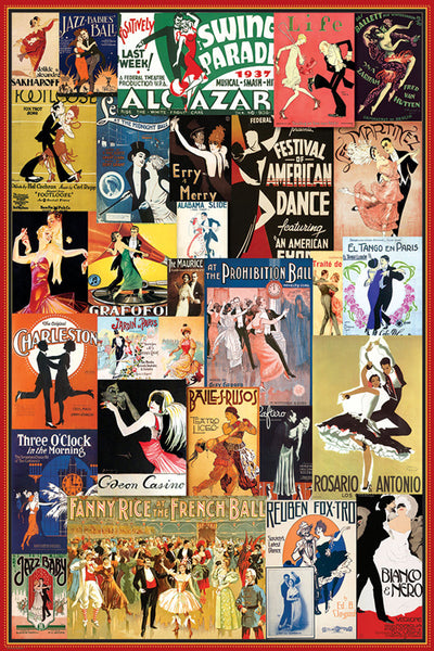 Vintage Dance Posters Collage (29 Reproductions) Poster - Eurographics Inc.