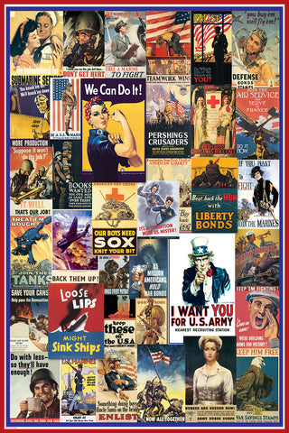 World War I and WWII Vintage American Posters Collage (36 Reproductions) Poster - Eurographics Inc.