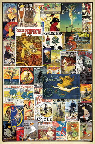 Vintage Art Deco Bicycle Posters Collage (40 Classics) Wall Poster - Eurographics Inc.