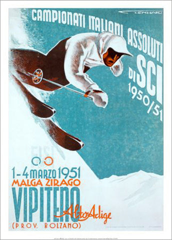 Italian Ski Championships 1951 Tyrolean Alps Vintage Poster Reproduction - Editions Clouets