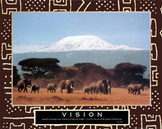 "Africa, Mt. Kiimanjaro ""Vision"" Motivational Poster - Paloma Editions"