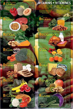Vitamins Nutritional Wall Chart Poster - Eurographics